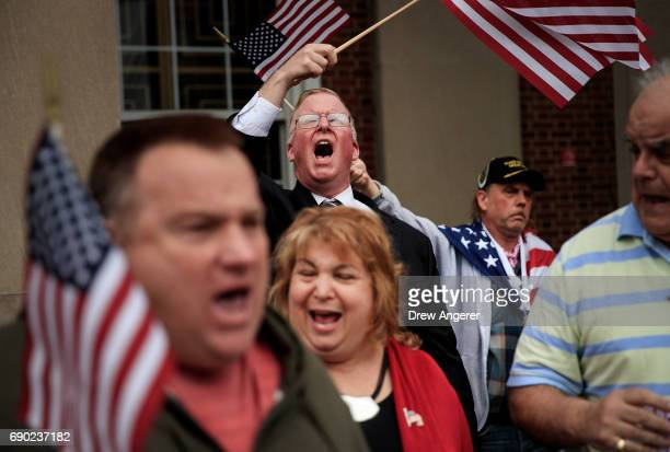 Supporters of Joe Concannon a retired NYPD captain and current candidate for NYC City Council District 23 cheer during a 'Support Your Police' rally...