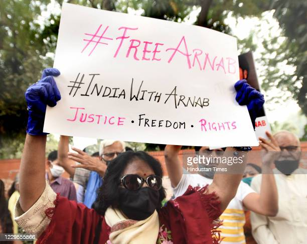 Supporters of Journalist Arnab Goswami stage a protest against the Maharashtra Government following his arrest at Jantar Mantar on November 9 2020 in...