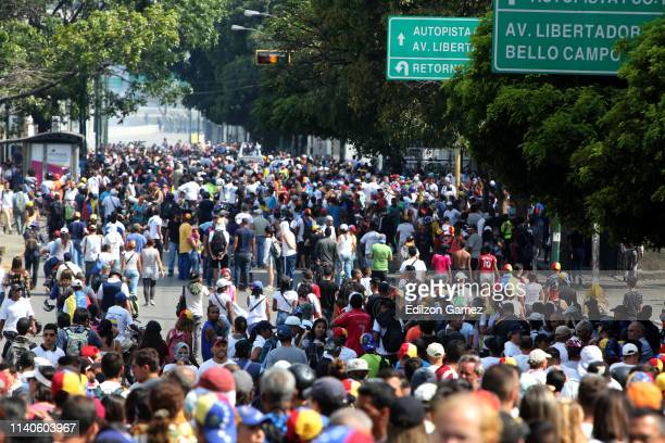 Supporters of Juan Guaido gather during the May 1 demonstration at plaza Altamira on May 1 2019 in Caracas Venezuela Yesterday Venezuelan opposition...