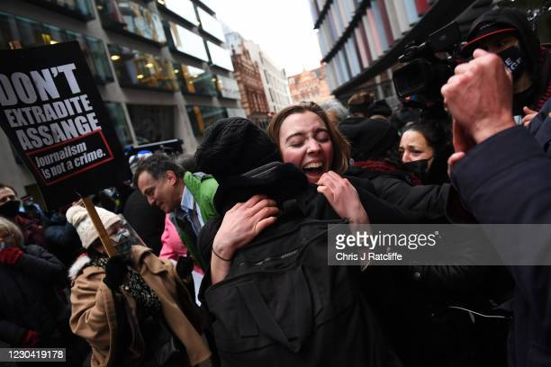 Supporters of Julian Assange celebrate after the verdict outside the Old Bailey on January 4, 2021 in London, England. District judge Vanessa...