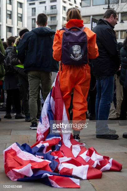 Supporters of Julian Assange gather outside Australia House on February 22 2020 in London England Protestors against the UK government's intention to...