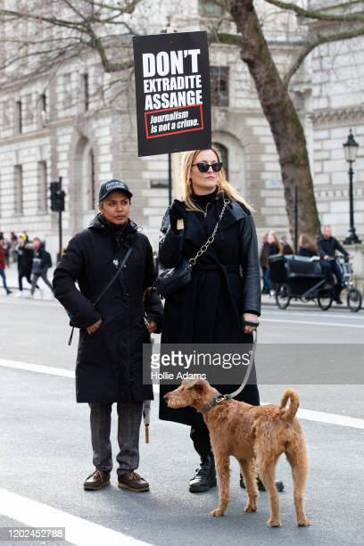 Supporters of Julian Assange rally through Westminster on February 22 2020 in London England Protestors against the UK government's intention to...