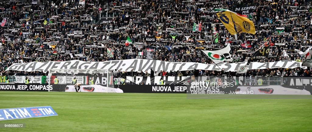 Supporters of Juventus during the serie A match between Juventus and UC Sampdoria at Allianz Stadium on April 15, 2018 in Turin, Italy.