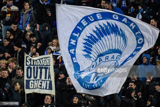 Supporters of KAA Gent during the UEFA Europa League round of 32 second leg match between KAA Gent v AS Roma at Ghelamco Arena on February 27, 2020...