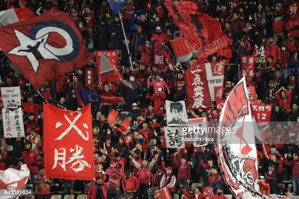 Supporters of Kashima Antlers cheer prior to the AFC Champions League Group E match between Kashima Antlers and Ulsan Hyndai at Kashima Soccer...