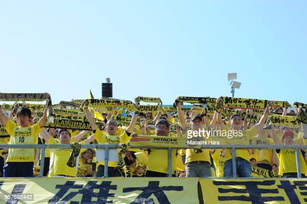 Supporters of Kashiwa Reysol cheer prior to the JLeague J1 match between Kashiwa Reysol and Kawasaki Frontale at Sankyo Frontier Kashiwa Stadium on...