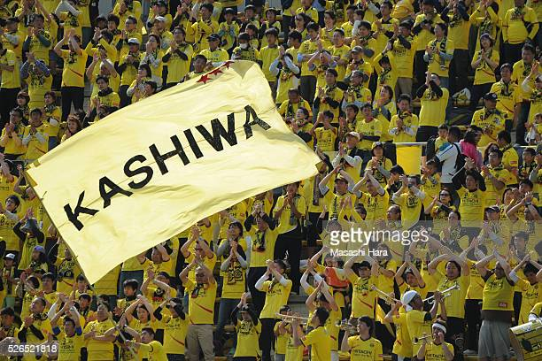 Supporters of Kashiwa Reysol cheer prior to the JLeague match between Kashiwa Reysol and Vissel Kobe at the Hitachi Kashiwa soccer stadium on April...