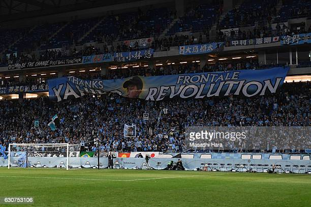 Supporters of Kawasaki Frontale hold a message to Yahiro Kazama after the 96th Emperor's Cup final match between Kashima Antlers and Kawasaki...