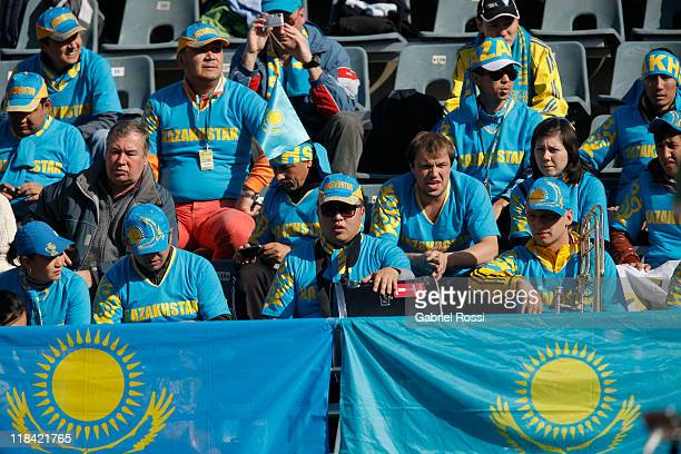 Supporters of Kazakhstan during the first match between Argentina and Kazakhstan for the quarter final of the Copa Davis at Parque Roca Stadium on...
