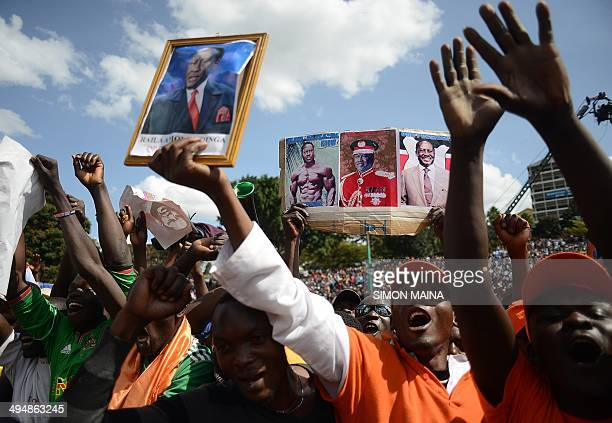 Supporters of Kenyan opposition leader Raila Odinga take part in a CORD rally on May 31 in Nairobi Raila has returned to the country after spending...