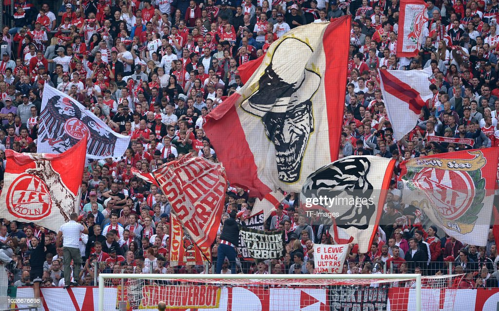 Supporters of Koeln are seen during the second Bundesliga match between FC Koeln and FC Erzgebirge Aue at RheinEnergieStadion on August 25, 2018 in Cologne, Germany.