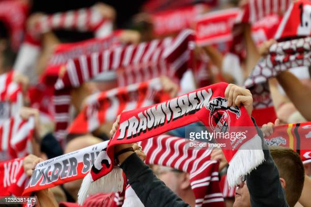 Supporters of Koeln during the Bundesliga match between 1. FC Koeln and RB Leipzig at RheinEnergieStadion on September 18, 2021 in Cologne, Germany.
