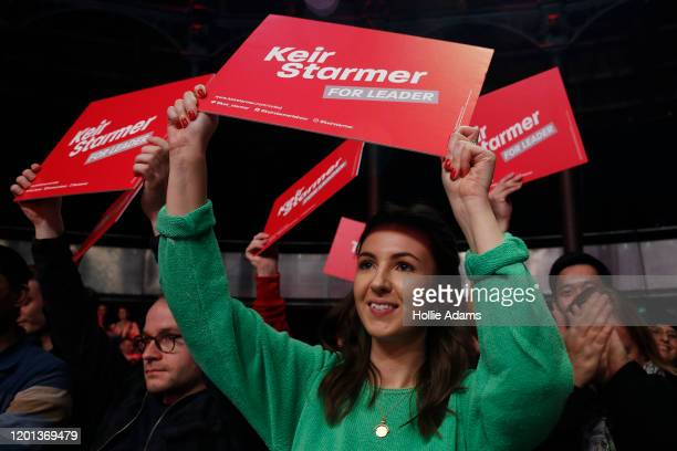 Supporters of Labour leadership candidate Sir Keir Starmer hold placards at a leadership campaign rally at the Roundhouse on February 16 2020 in...