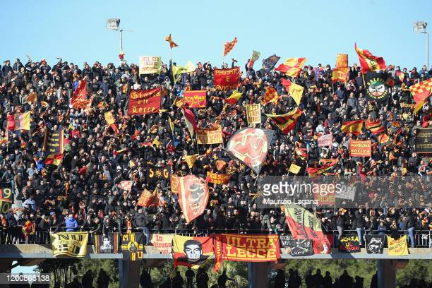 Supporters of Lecce during the Serie A match between US Lecce and SPAL at Stadio Via del Mare on February 16 2020 in Lecce Italy