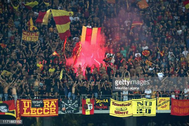 Supporters of Lecce during the Serie A match between US Lecce and Hellas Verona at Stadio Via del Mare on September 1 2019 in Lecce Italy
