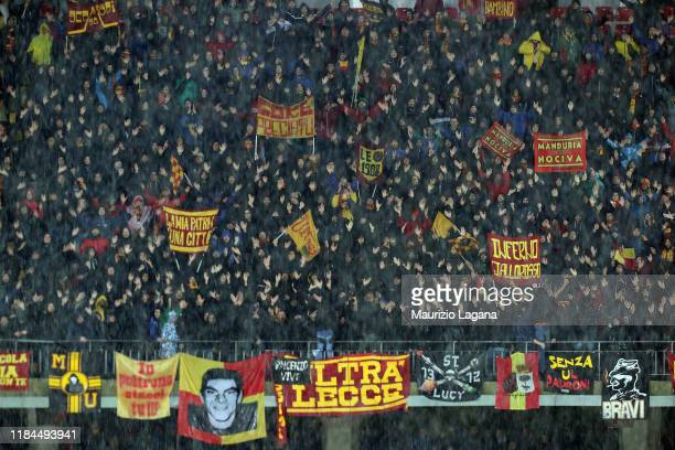 Supporters of Lecce during the Serie A match between US Lecce and Cagliari Calcio at Stadio Via del Mare on November 24 2019 in Lecce Italy