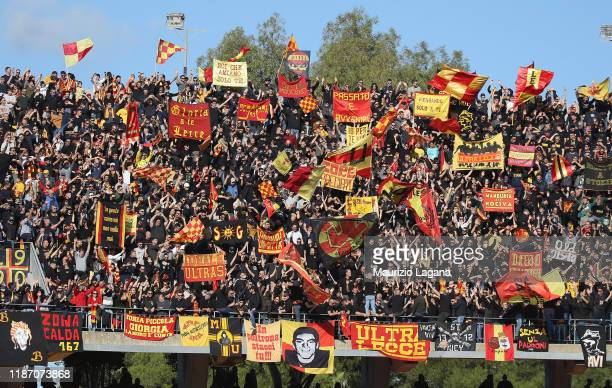 Supporters of Lecce during the Serie A match between US Lecce and Genoa CFC at Stadio Via del Mare on December 8, 2019 in Lecce, Italy.
