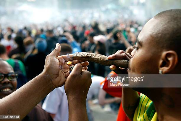 Supporters of legalized marijuana light up at exactly 420 pm in Civic Center Park April 20 2012 in Denver Colorado Colorado goes to the polls...