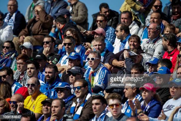 Supporters of Leganes during the La Liga Santander match between Leganes v Atletico Madrid at the Estadio Municipal de Butarque on November 3 2018 in...