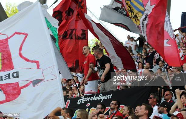 Supporters of Leipzig are pictured during the Bundesliga match between RB Leipzig and TSG 1899 Hoffenheim at Red Bull Arena on April 21 2018 in...