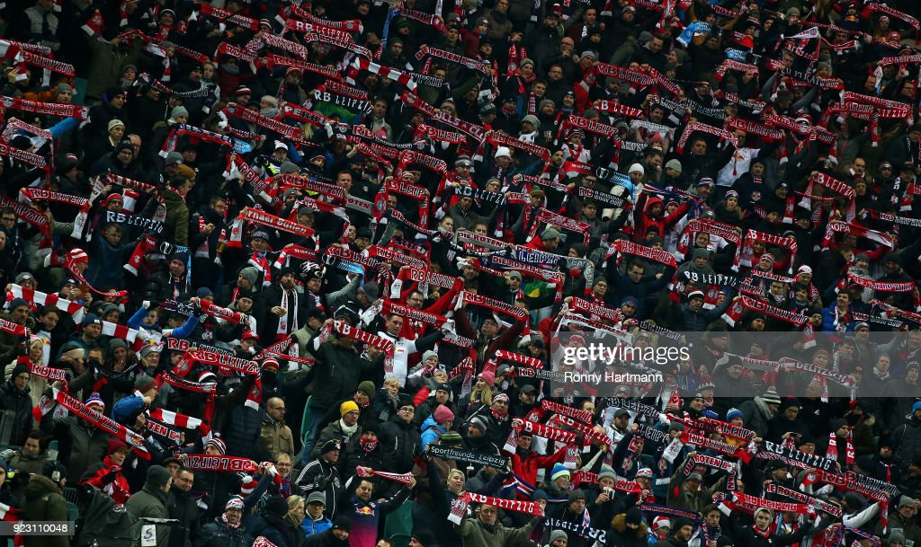 Supporters of Leipzig cheer prior to UEFA Europa League Round of 32 match between RB Leipzig and Napoli at the Red Bull Arena on February 22, 2018 in Leipzig, Germany.