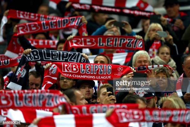 Supporters of Leipzig during the UEFA Champions League group G match between RB Leipzig and AS Monaco at Red Bull Arena on September 13 2017 in...