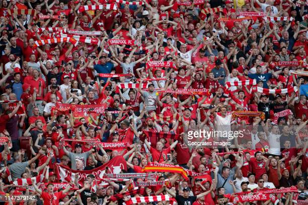 supporters of Liverpool during the UEFA Champions League match between Tottenham Hotspur v Liverpool at the Wanda Metropolitano on June 1 2019 in...