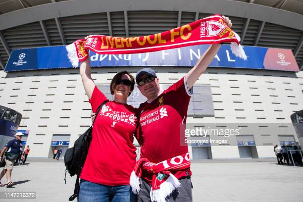 Supporters of Liverpool FC during the UEFA Champions League match between Tottenham Hotspur v Liverpool at the Wanda Metropolitano on June 1 2019 in...