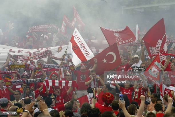 Supporters of Liverpool FC gather in Taxim Square before the Champions League final between Liverpool and AC Milan on May 25 2005 in Istanbul Turkey...