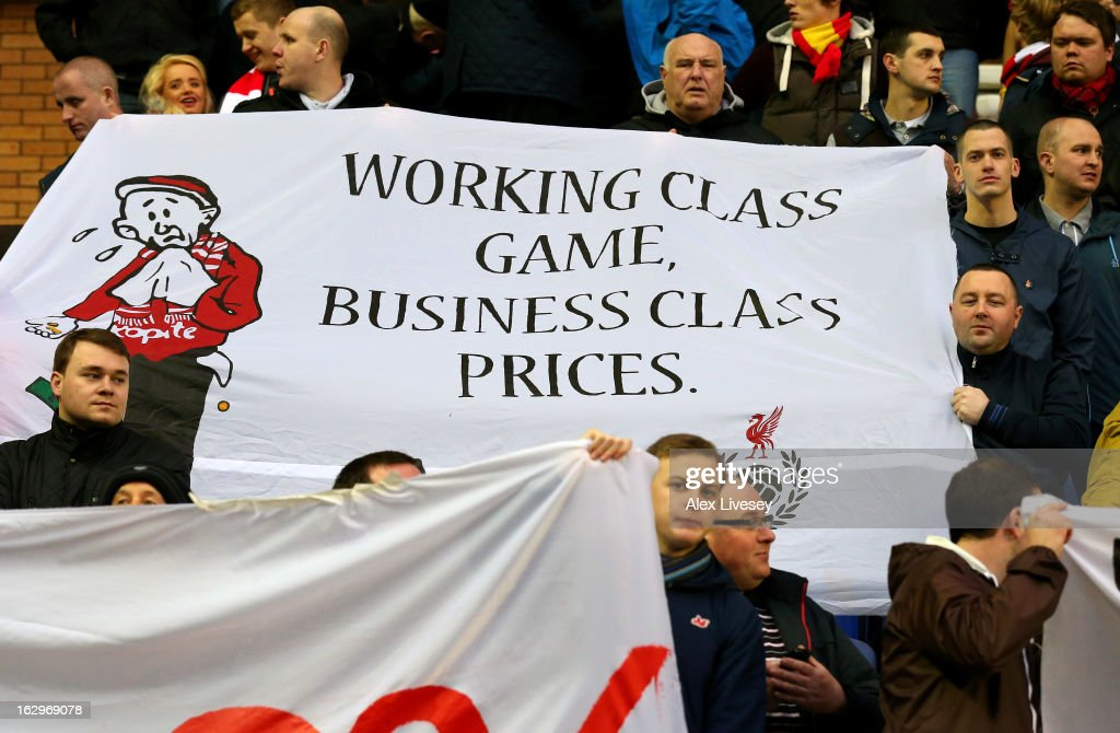 Supporters of Liverpool protest over the price of match tickets during the Barclays Premier League match between Wigan Athletic and Liverpool at the DW Stadium on March 2, 2013 in Wigan, England.