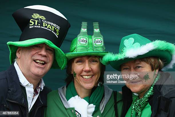 Supporters of London Irish displaying their colours enjoy the St Patrick's Party ahead of the Aviva Premiership match between London Irish and...
