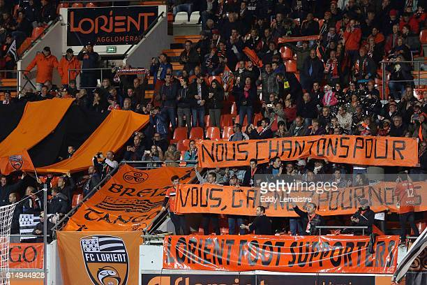 Supporters of Lorient during the Ligue 1 match between FC Lorient and FC Nantes at Stade du Moustoir on October 15 2016 in Lorient France