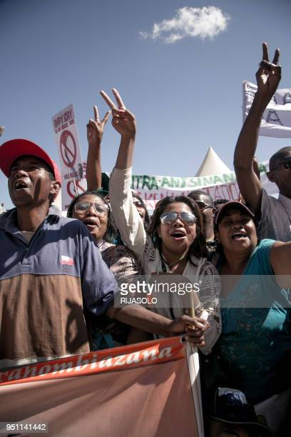 Supporters of Madagascar opposition demonstrate on a fifth straight day of anti-government protests on April 25, 2018 in Antananarivo, calling for...