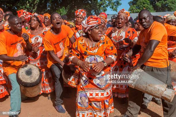 Supporters of Malawian People's Party and former Malawian President Joyce Banda sing during a rally at her home town a day after her return from a...