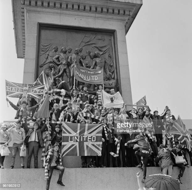 Supporters of Manchester United FC in London for the Europan Cup final UK 29th May 1968