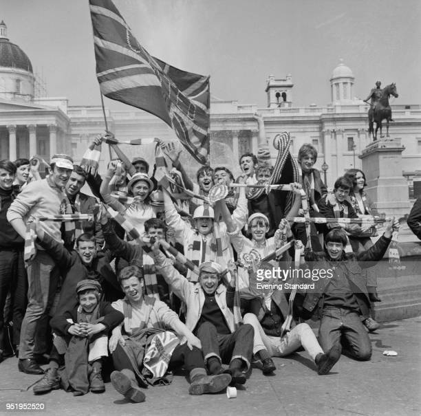 Supporters of Manchester United FC in London for the European Cup final, Trafalgar Square, London, UK, 29th May 1968.