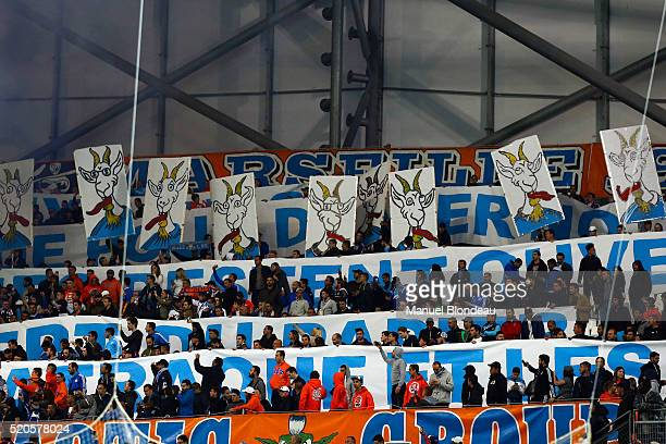 Supporters of Marseille during the French League 1 match between Olympique de Marseille and FC Girondins de Bordeaux at Stade Velodrome on April 10...