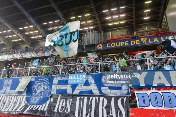 Supporters of Marseille during the french League Cup match Round of 16 between Rennes and Marseille on December 13 2017 in Rennes France