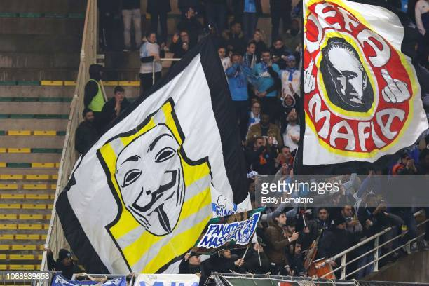 Supporters of Marseille during the French Ligue 1 match between FC Nantes and Olympique de Marseille on December 5 2018 in Nantes France