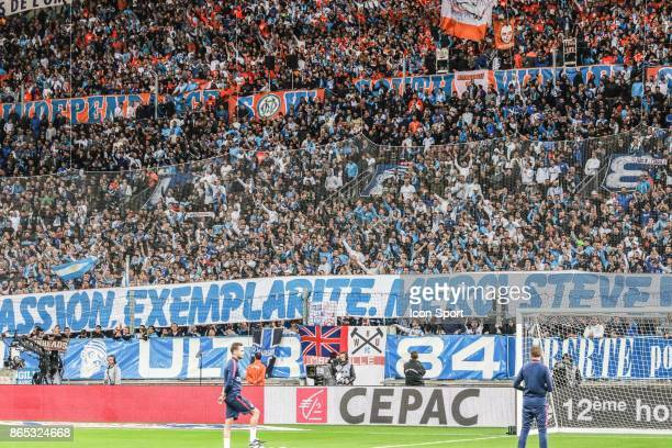 Supporters of Marseille during the Ligue 1 match between Olympique Marseille and Paris Saint Germain at Stade Velodrome on October 22 2017 in...