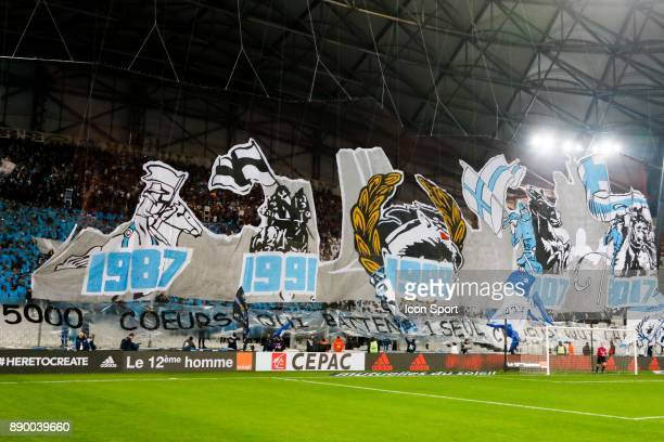 Supporters of Marseille during the Ligue 1 match between Olympique Marseille and AS SaintEtienne at Stade Velodrome on December 10 2017 in Marseille