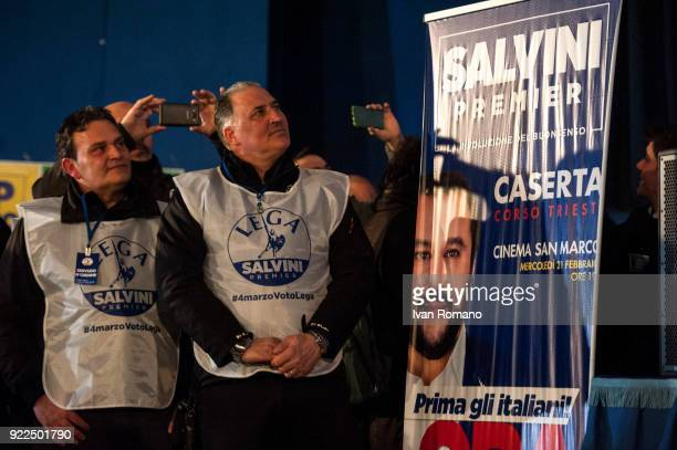 Supporters of Matteo Salvini premier candidate for the League attend a campaign event at the San Marco Cinema on February 21 2018 in Caserta Italy...
