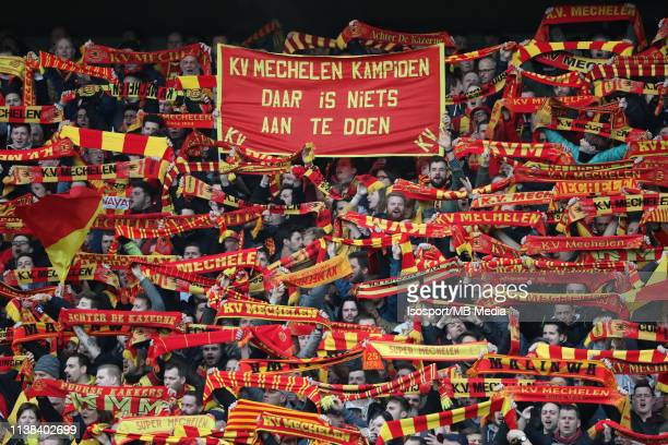 Supporters of Mechelen during the Proximus League test match between Kv Mechelen and Kfco Beerschot Wilrijk on March 16, 2019 in Mechelen, Belgium.