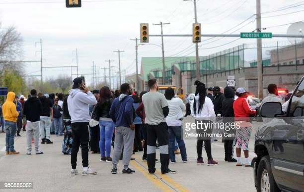 Supporters of Meek Mill aka Robert Williams await his release from the Pennsylvania State Correctional Facility April 24 2018 in Chester Pennsylvania...