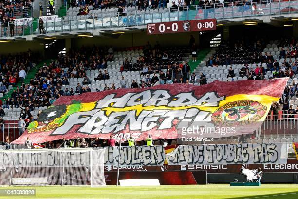 Supporters of Metz during the Ligue 2 match between FC Metz and Le Havre on September 29 2018 in Metz France