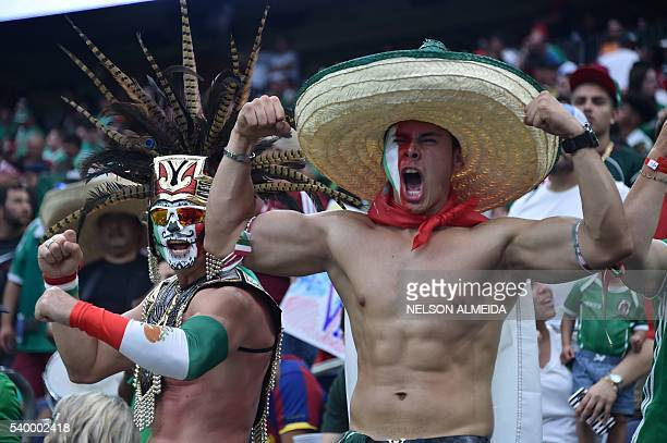 Supporters of Mexico cheer on the stands during the Copa America Centenario football tournament match against Venezuela in Houston Texas United...