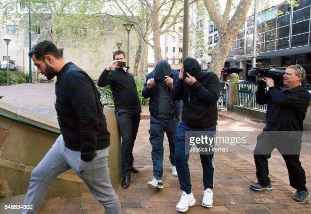 Supporters of Michael and Fadi Ibrahim Mustapha Dib and Koder Jomaa arrive at Sydney Central Local Court on September 18 2017 in Sydney Australia...