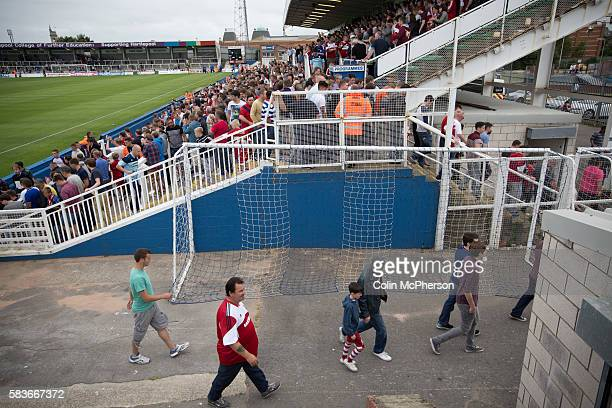 Supporters of Middlesbrough making their way out of the Victoria Ground Hartlepool at the conclusion of a preseason friendly between their team and...