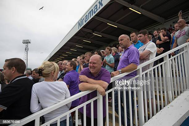 Supporters of Middlesbrough react with a mixture of laughter and bemusement at the Victoria Ground Hartlepool as striker Lucas Jutkiewicz has a...