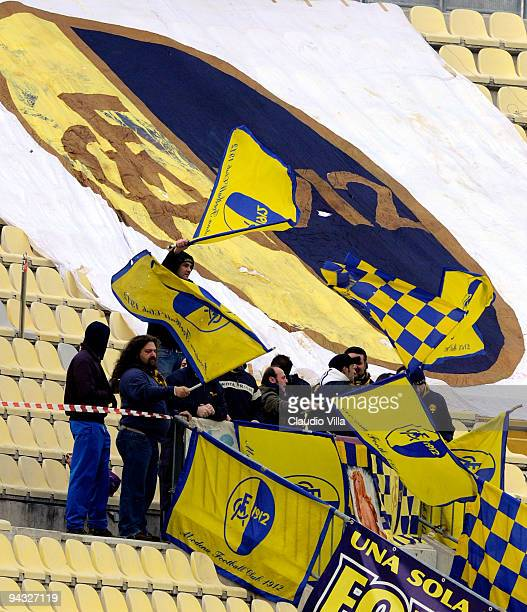 Supporters of Modena FC wave banners during the Serie B match between Modena and Mantova at Alberto Braglia Stadium on December 12 2009 in Modena...